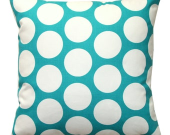 CLEARANCE Polka Dot Pillow Cover, Dandie Dot True Turquoise Pillow, 16x16 Zippered Pillow, Cushion Cover, Throw Pillow, Black Friday SALE