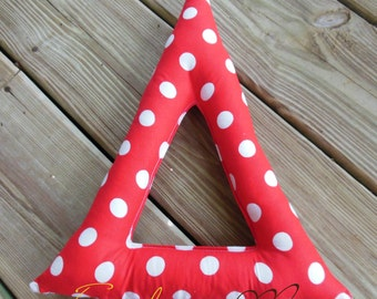 "Greek Letter Delta handmade fabric pillow red with white polka dots approx. 12""x9"""
