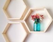 Set of Three Hexagon Shelves / Honeycomb Shelves, Modern decor, Geometric Shelves, Nursery Decor