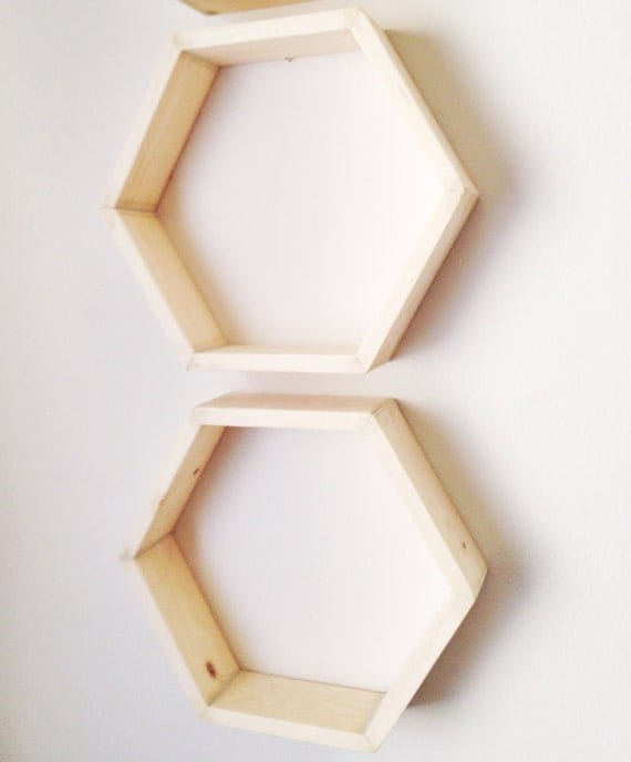 Set Of Two Hexagon Shelves Honeycomb Shelves By