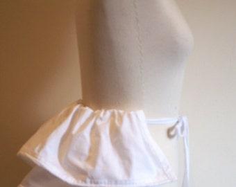 19th Century White Cotton Victorian Bustle. 1840s Romantic Era. Victorian Underwear.