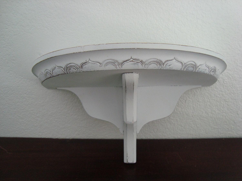 White Wood Shelf Shabby Chic Painted White Distressed