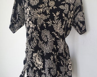 Floral Tunic /  Black and White Shirt / Long Tunic Top