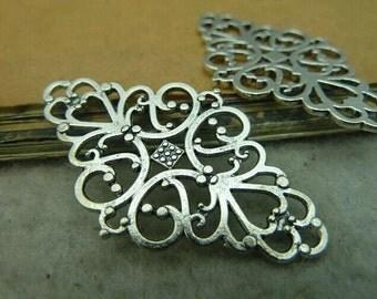 10pcs 25x41mm The Flower Silver Color Retro Pendant Charm For Jewelry /Pendants C3604
