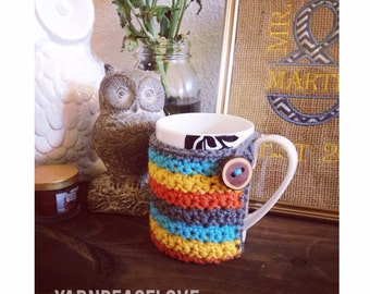 Striped or Solid Coffee Mug Cozy-Custom-You Pick Colors-Made To Order