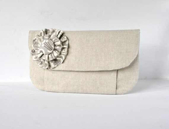 Woman's Art Deco floral clutch purse bag ruffle corsage natural linen with grey vintage inspired lining.