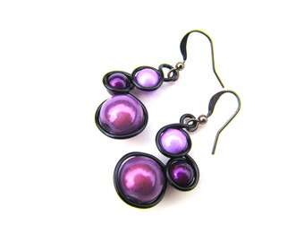 Purple, Orange and Black Wire Wrapped Earrings, Orange and Purple Miracle Beads, black wire and french ear wires.