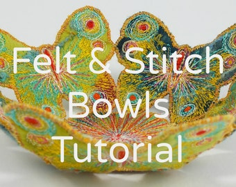 How to make Handmade Felt & Stitch Bowls. Wet Felting step-by-stepTutorial.  PDF Instant download.