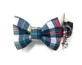 Multicolored Plaid Bow Tie Dog Collar size Small