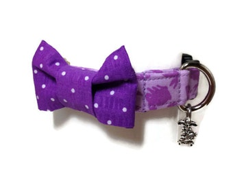 Lavender and Purple Easter Bunny Bow Tie Dog Collar size Extra Small