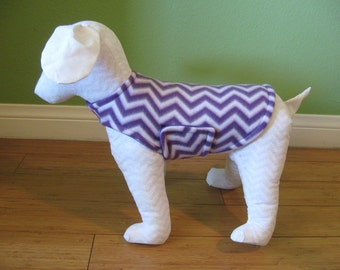 Fleece Dog Coat, Extra Small Purple and White Chevron with Purple Fleece Lining