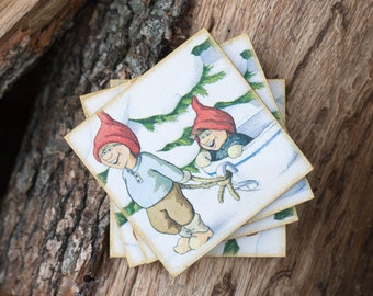 Christmas Coasters, Gnome Wood Wooden Square Coasters, Holidays Tabletop Decor