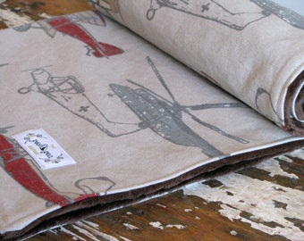 Baby Boy - Vintage Airplanes in taupe, grey, red, slate blue and brown - Minky Baby Blanket
