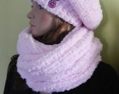 Extra Soft Chunky Slouchy Hat And Tube Scarf  Set, Trendy Teen Winter Set in Light Pink , Christmas Gift for Teen/ Youth