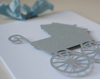 Baby Shower Invitations Baby Carriage Baby Boy Invites Thank You Cards Gray and Blue