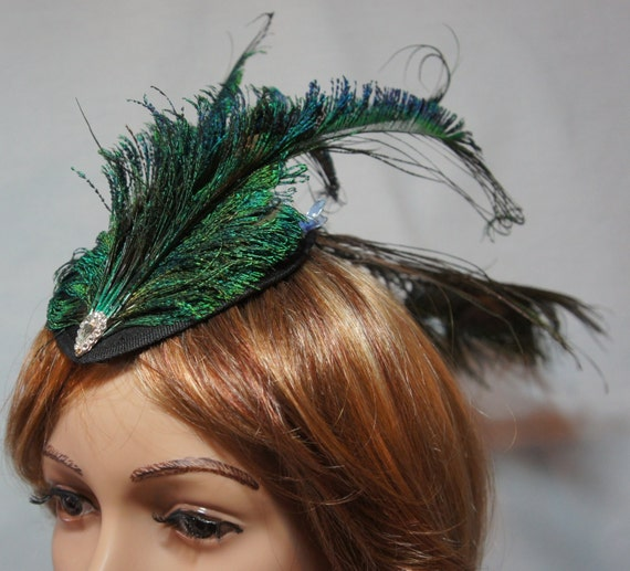 Peacock Feather Fascinator / Long Peacock Feathers / Satin Teardrop Hat / Authentic Rhinestones / Butterflies / by Dorene