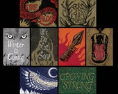 Set of Eight Game of Thrones-inspired House sigil mini photo prints drawn by Jon Turner- 4x6 prints