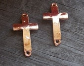 20 Rose Gold Cross Connector Charms 30mm Curved for Bracelets