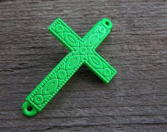 3 Neon Green Cross Connectors 4.3cm