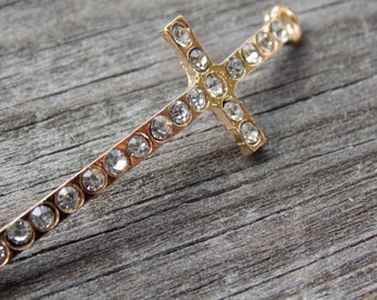 2 Gold Cross Connectors with Rhinestones 42mm Curved for Bracelets