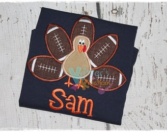 Football Turkey - Fall Embroidered Appliqued Shirt