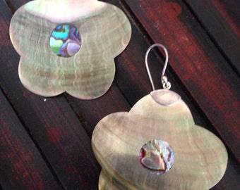 2.5 inch Sterling 925 mother of pearl flower dangle earrings statement earrings