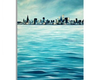 "Chicago skyline - Original unique blue, turquoise cityscape painting - oil painting on canvas - 27,6"" x 19,7"
