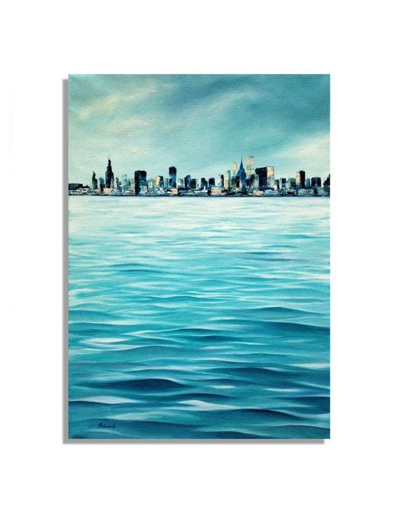 "Chicago skyline - Original unique blue, turquoise cityscape painting - oil painting on canvas - 27,6"" x 19,7"