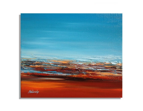 """Abstract oil painting - Original unique mini contemporary abstract landscape oil painting - blue, red, orange, brown - 9,8"""" x 11,8"""""""