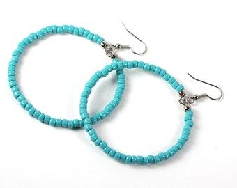 Large Turquoise Beaded Hoop Earrings