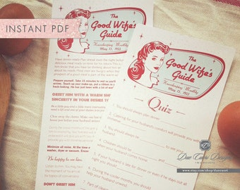 INSTANT PDF, 1950's How To Be A Good Wife Retro Shower Game, Download Now