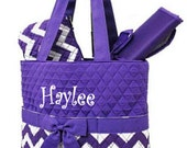 Personalized Chevron Diaper Bag Set - Zig Zag Baby Girl Tote Set - Purple Chevron Quilted Diaperbag