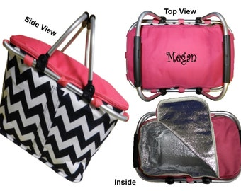 Personalized Insulated Chevron  Market Tote - Zig Zag Design with Hot Pink Trim