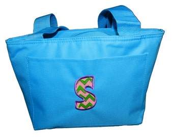 Personalized Canvas Insulated Lunch Tote with Chevron Initial - Aqua - Available in several colors