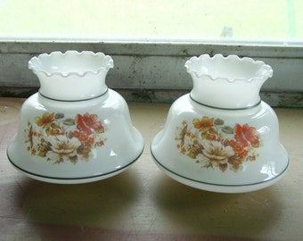 Pair of Lamp Shades, Glass Shades, Orange and White Flowers, Scalloped Top, Home Lighting,