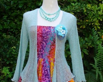 Light Blue mint Knitted Bolero Jacket
