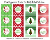 NEW INSTANT DOWNLOAD The Holly Jolly Red and Green Christmas Collection Printable 2 inch Party Circles