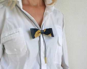 Bolo bow tie, midnight blue and gold silk, leather and suede, women's and men's accessory, unisex bolo (B15)