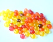 62 mixed color frosted glass beads 6mm - yellow, orange, red, brown - CollectionImagine