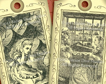 Victorian Alice in Wonderland - Set of 6 - Digital Tags, Labels, Cards - Lewis Carroll, Mad Hatter, White Rabbit - Printables, Downloads