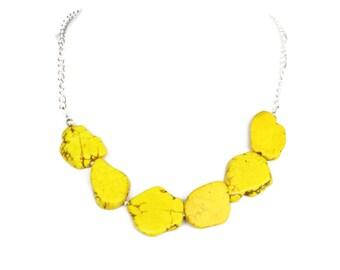 Yellow Necklace - Yellow Minimalist Necklace - Chunky Turquoise Statement Necklace - Aqua Turquoise Slab Necklace