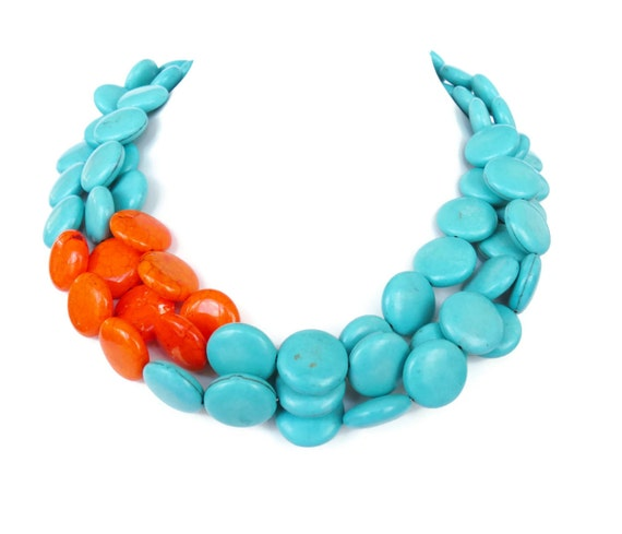 Orange and Turquoise Necklace - Asymmetrical Orange and Turquoise Statement Necklace - Color Block Necklace Fashion Jewelry