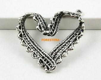 20Pcs Antique Silver Heart Charm Heart Pendant 31mm (PND706)