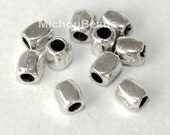 50 Antiqued Silver TIBETAN Style Rounded SQUARE Seed Beads - 3x2.5mm w/ 1.2mm Hole Nickel Free Metal Cube - USA Seller - 5599