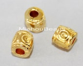 25 Bright GOLD 6mm TIBETAN Style Drum Tube Beads - 6x6mm Large Hole 2.8mm Nickel Free Metal Boho Beads - Instant Ship from USA - 5658