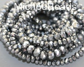 Qty 20 - 6x4mm FACETED Silver METALLIC Mirror Glass ABACUS Rondelle Beads - 10mm Electroplated Bead  - Instant Ship - Usa Seller - 5110