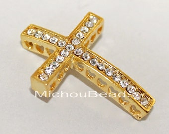 3 GOLD 38mm SIDEWAYS Rhinestone CROSS Connector Charm Link - 38x27mm Lead Free Sideways Clear Crystal Rhinestone Pave Curved Cross - 5712