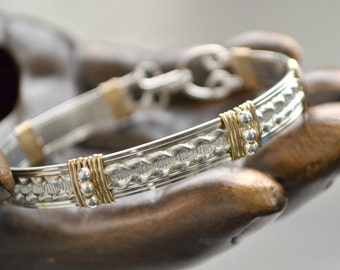 "Sterling silver wire wrap bracelet with 14K gold filled accents.  size 7  ""Serendipity"""