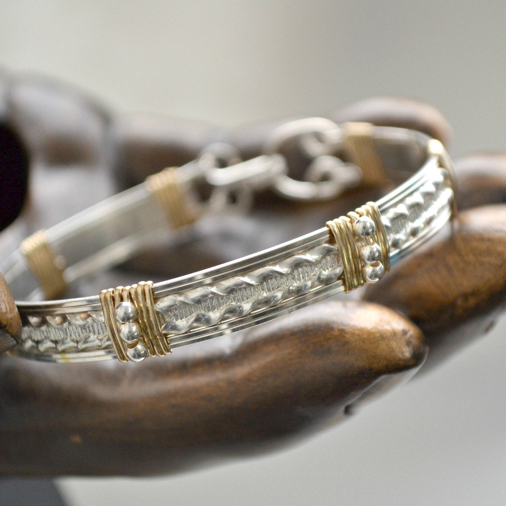 Wire Bracelets With Charms 2: Sterling Silver Wire Wrap Bracelet With 14K Gold Filled