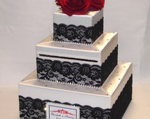 White Wedding Card Box-Black lace design-Red Roses-rhinestone accents